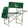 Picnic Time Sports Chair - Hunter Green Embroidered University of Miami Hurricanes