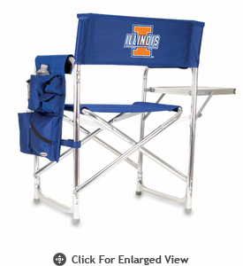 Picnic Time Sports Chair - Navy Blue Digital Print University of Illinois Fighting Illini