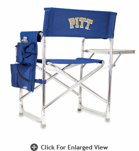 Picnic Time Sports Chair - Navy Blue Embroidered University of Pittsburgh Panthers
