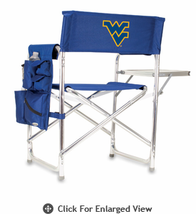 Picnic Time Sports Chair - Navy Blue Embroidered West Virginia University Mountaineers