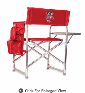 Picnic Time Sports Chair - Red Digital Print University of Wisconsin Badgers