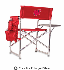 Picnic Time Sports Chair - Red Embroidered University of Wisconsin Badgers