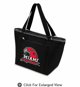 Picnic Time Topanga Digital Print - Black Tote Miami University Red Hawks