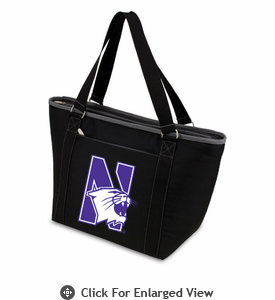 Picnic Time Topanga Digital Print - Black Tote Northwestern University Wildcats