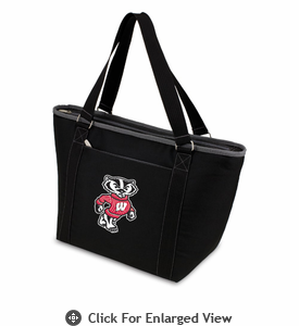 Picnic Time Topanga Digital Print - Black Tote University of Wisconsin Badgers
