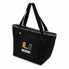 Picnic Time Topanga Embroidered - Black Tote University of Miami Hurricanes