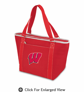 Picnic Time Topanga Embroidered - Red Tote University of Wisconsin Badgers