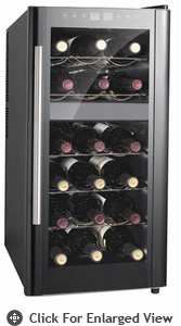 Sunpentown Dual-Zone Therm-Electric 18 Bottle Wine Cooler with Heating
