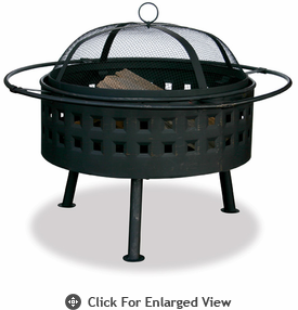 UniFlame Aged Bronze Firepit With Lattice Design