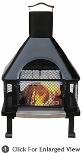 Uniflame  Black  Firehouse  Outdoor Wood Burning Fireplace
