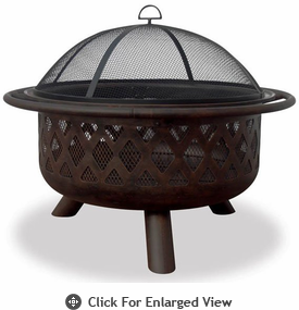 UniFlame Oil Rubbed Bronze Firepit With Lattice Design