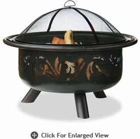 UniFlame Oil Rubbed Bronze Firepit With Swirl Design