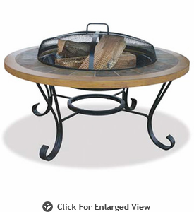 UniFlame  Slate Tile and Faux   Wood Outdoor Firebowl