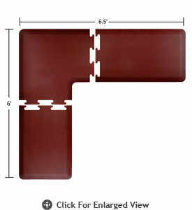 Wellness Mats 6.5' x 6' PuzzlePiece 2' Wide L Series (3-Piece Corner Mat Set) - Burgundy