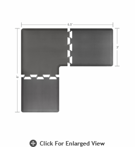 Wellness Mats 6.5' x 6' PuzzlePiece 3' Wide L Series (3-Piece Corner Mat Set) Grey