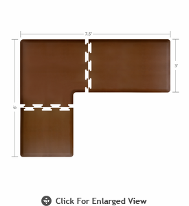 Wellness Mats 7.5' x 6' PuzzlePiece 3' Wide L Series (3-Piece Corner Mat Set) Brown