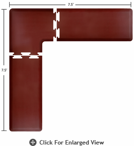 Wellness Mats 7.5' x 7.5' PuzzlePiece 2' Wide L Series (3-Piece Corner Mat Set) - Burgundy