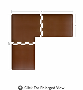 Wellness Mats 7' x 6.5' PuzzlePiece 3' Wide L Series (3-Piece Corner Mat Set) Brown