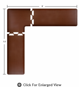 Wellness Mats 8' x 7.5' PuzzlePiece 2' Wide L Series (3-Piece Corner Mat Set) - Brown