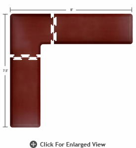 Wellness Mats 8' x 7.5' PuzzlePiece 2' Wide L Series (3-Piece Corner Mat Set) - Burgundy