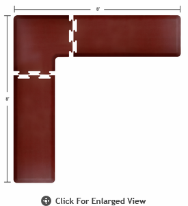 Wellness Mats 8' x 8' PuzzlePiece 2' Wide L Series (3-Piece Corner Mat Set) - Burgundy