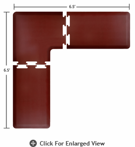 Wellness Mats Puzzle Piece Collection 6.5' x 6.5' L Series 3-Piece Corner Mat Set - Burgundy