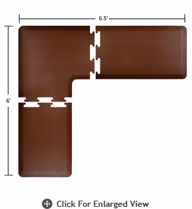 Wellness Mats Puzzle Piece Collection 6.5' x 6' L Series 3-Piece Corner Mat Set - Brown
