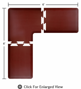 Wellness Mats Puzzle Piece Collection 6' x 6' L Series 3-Piece Corner Mat Set - Burgundy