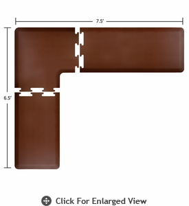 Wellness Mats Puzzle Piece Collection 7.5' x 6.5' L Series 3-Piece Corner Mat Set - Brown