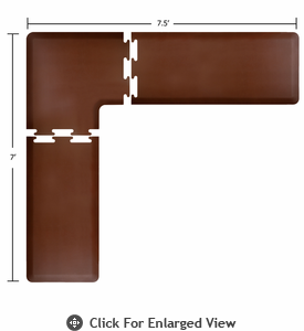 Wellness Mats Puzzle Piece Collection 7.5' x 7' L Series 3-Piece Corner Mat Set - Brown