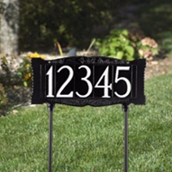 "Whitehall 4"" Number Lawn Sign Standard Lawn Mount Black/White Reflective One Line"