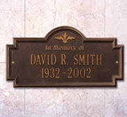 """Whitehall Arlington Standard Wall Plaque """"In Memory Of"""" Two Lines"""