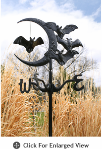 Whitehall  Bat and Moon Garden Weathervane Black