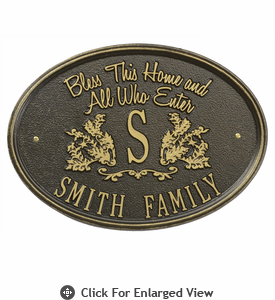 Whitehall Bless Our Home Plaque  Standard Wall - One Line  Bronze/Gold