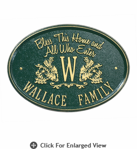 Whitehall Bless Our Home Plaque  Standard Wall - One Line  Green/Gold