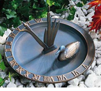 Whitehall   Combination Aluminum Sundial Birdbaths