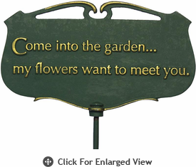 "Whitehall ""Come into the garden..."" Garden Poem Plaque"