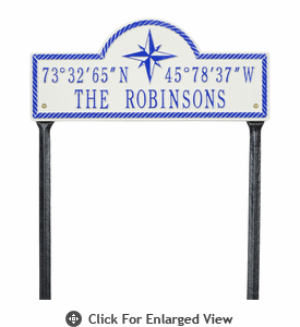 Whitehall Coordinates Plaque  Standard Lawn - Two Line  Stucco/Blue