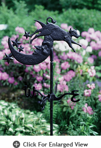 Whitehall Cow Over Moon Garden Weathervane Black