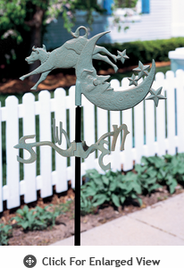 Whitehall Cow Over Moon Garden Weathervane Verdigris
