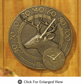 Whitehall Minutes & Degrees™  Whitetail Thermometer Clocks