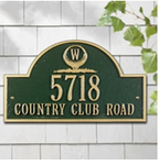 Whitehall  Monogram Golf Arch Address Plaque
