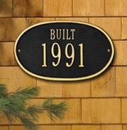 """Whitehall Oval DateStandard Wall Plaque """"Built"""" One Line"""