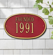 "Whitehall Oval Date Standard Wall Plaque ""Founded"" One Line"