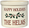 Whitehall Personalized 2 Gallon Ceramic Holiday Holly Crock