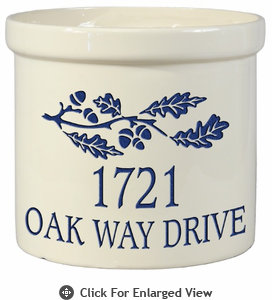 Whitehall Personalized 2 Gallon Ceramic Oak Branch Crock Version B