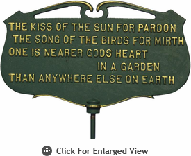 "Whitehall ""The kiss of the sun...""Garden Poem Plaque"
