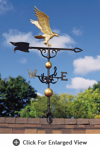 "Whitehall Traditional Directions Collection 46"" Full Bodied Gold Bronze Eagle Weathervane"