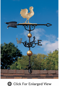 "Whitehall Traditional Directions Collection 46"" Full Bodied Gold Bronze Rooster Weathervane"