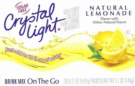 * Crystal Light On The Go Natural Lemonade Mix, Sugar Free - 30 Packets
